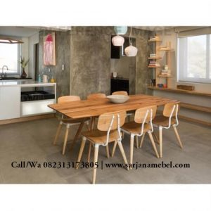 Set Kursi Makan Cafe dan Bar Kayu Jati Minimalis Modern