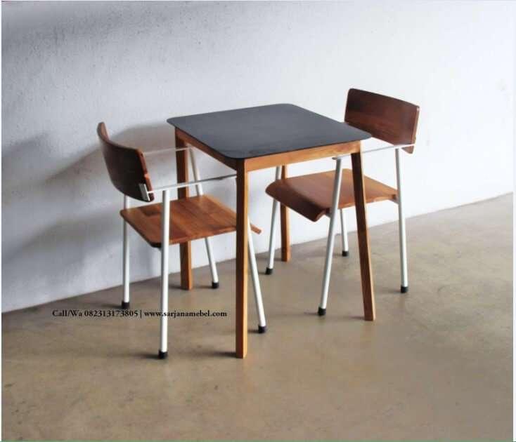 Set Kursi Cafe kayu Jati dan Besi