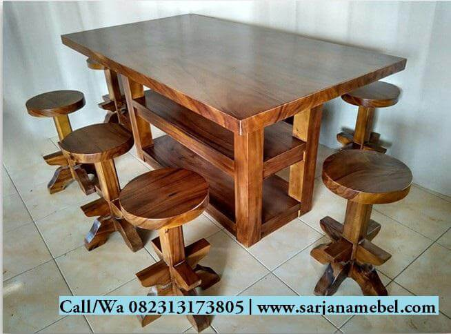 Set Meja Kursi Bar Kayu Trembesi | SARJANA MEBEL