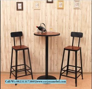 Set Meja Kursi Bar Stool Industrial- Jual Kursi Cafe Murah | SARJANA MEBEL