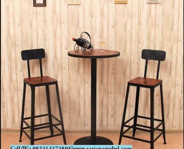 Set Meja Kursi Bar Stool Industrial- Jual Kursi Cafe Murah | SARJANA MEBEL