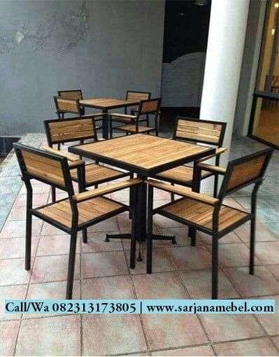 Set Kursi Cafe Kombinasi Jati dan Besi | SARJANA MEBEL