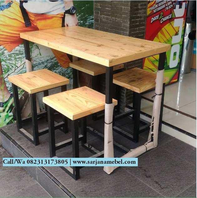 Set Bangku Kursi Cafe Rangka Besi Murah Sarjana Mebel