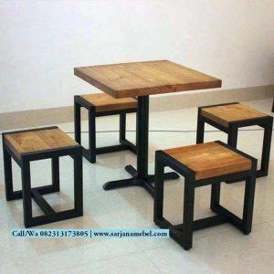 Set Kursi Cafe Rangka Besi Dengan 4 Kursi
