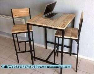 Set Kursi Bar Rangka Besi Model Rustik | SARJANA MEBEL