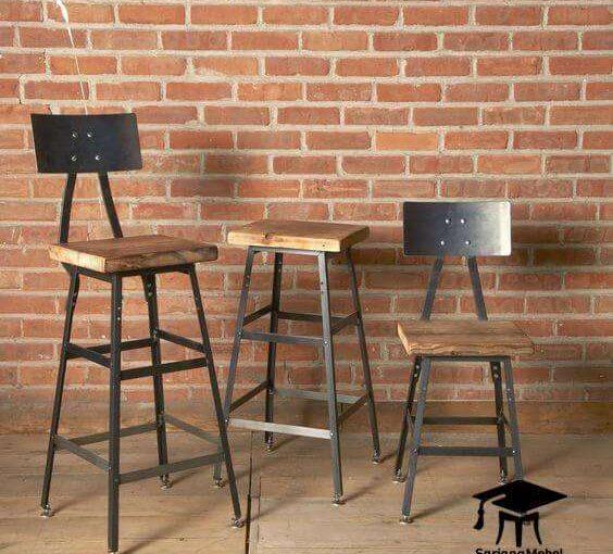 Gambar Kursi Cafe Bar Industrial Sandaran Besi