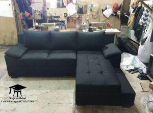 Gambar Kursi Sofa Sudut L Jok hitam