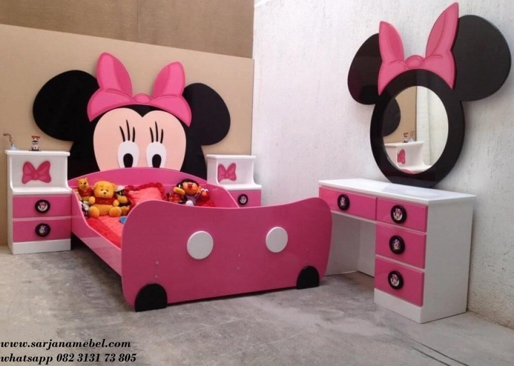 Tempat Tidur Anak Perempuan Karakter Micky Mouse