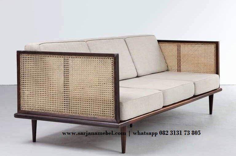 Gambar Kursi Sofa Tamu Minimalis Kombinasi Rotan