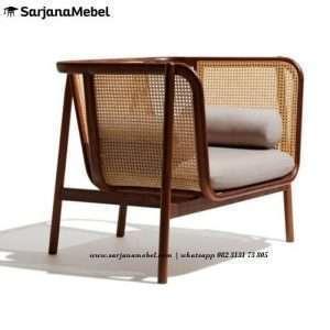 Gambar Sofa Minimalis Rotan 1 Dudukan Kayu Jati