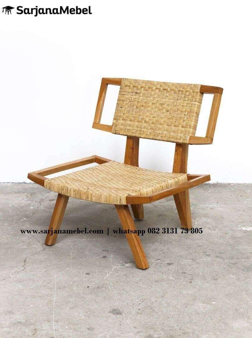 Kursi Santai Lobi Model Retro Mix Anyaman Bambu