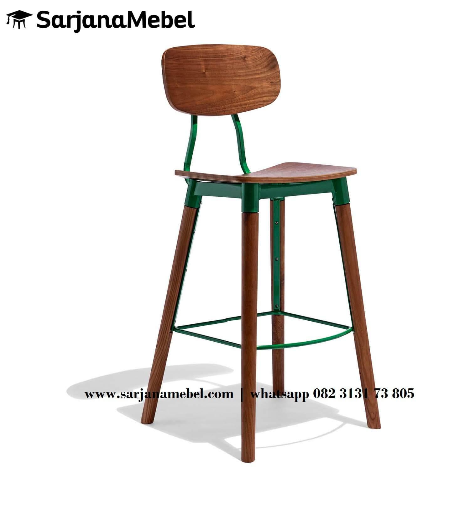 Gambar Kursi Bar Industrial Kayu Jati Rangka Besi