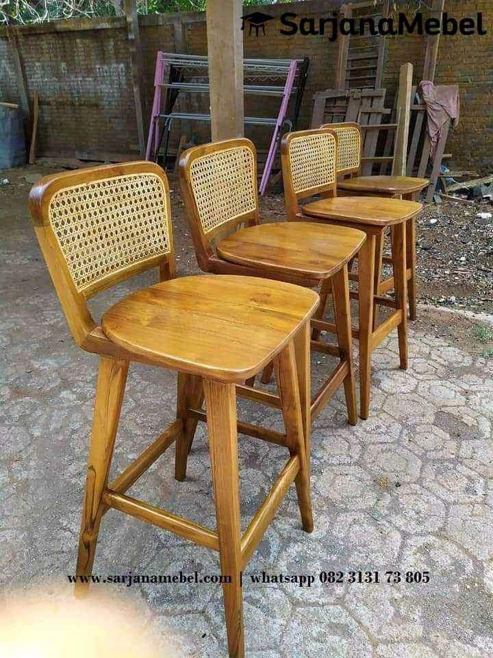 Gambar Kursi Bar Natural Rotan Kayu Jati