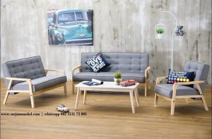 Gambar Kursi Tamu Minimalis Retro Finishing White Wash | SARJANA MEBEL