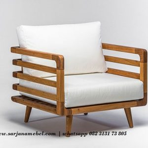 Gambar Sofa Single Natural Jari Jari Kayu Jati | Sarjana Mebel