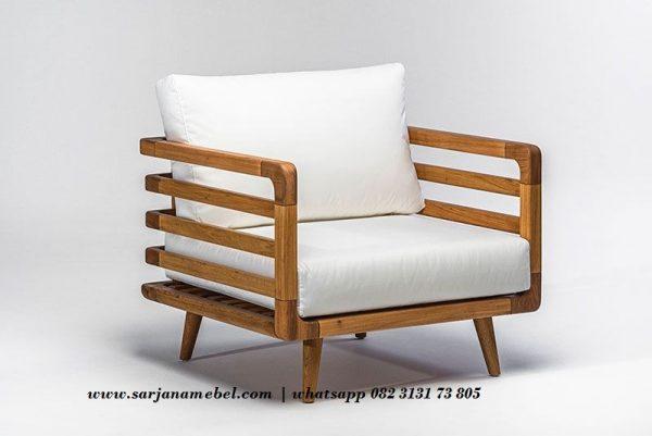 Gambar Sofa Single Natural Jari Jari Kayu Jati | Sarjana Mebel